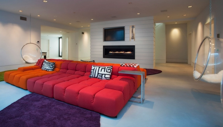 Colorful sofa in Contemporary style home on the beach