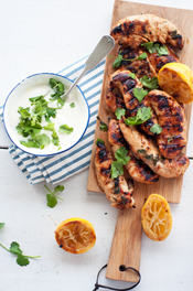 cilantro grilled chicken with lemon yogurt dressing