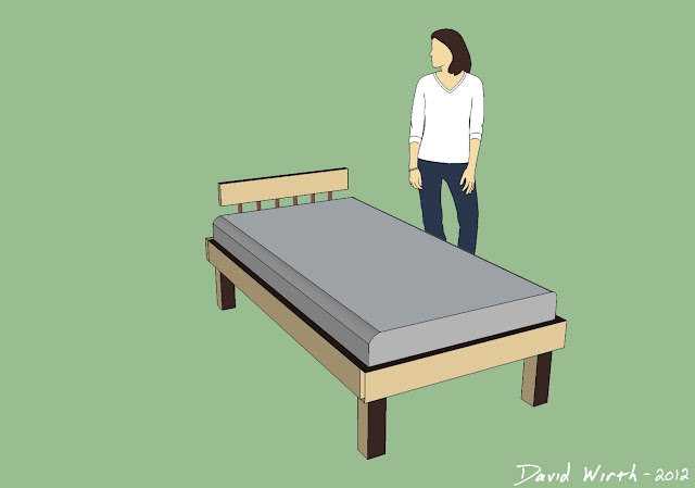 google sketchup bed, bed design, sketchup twin bed