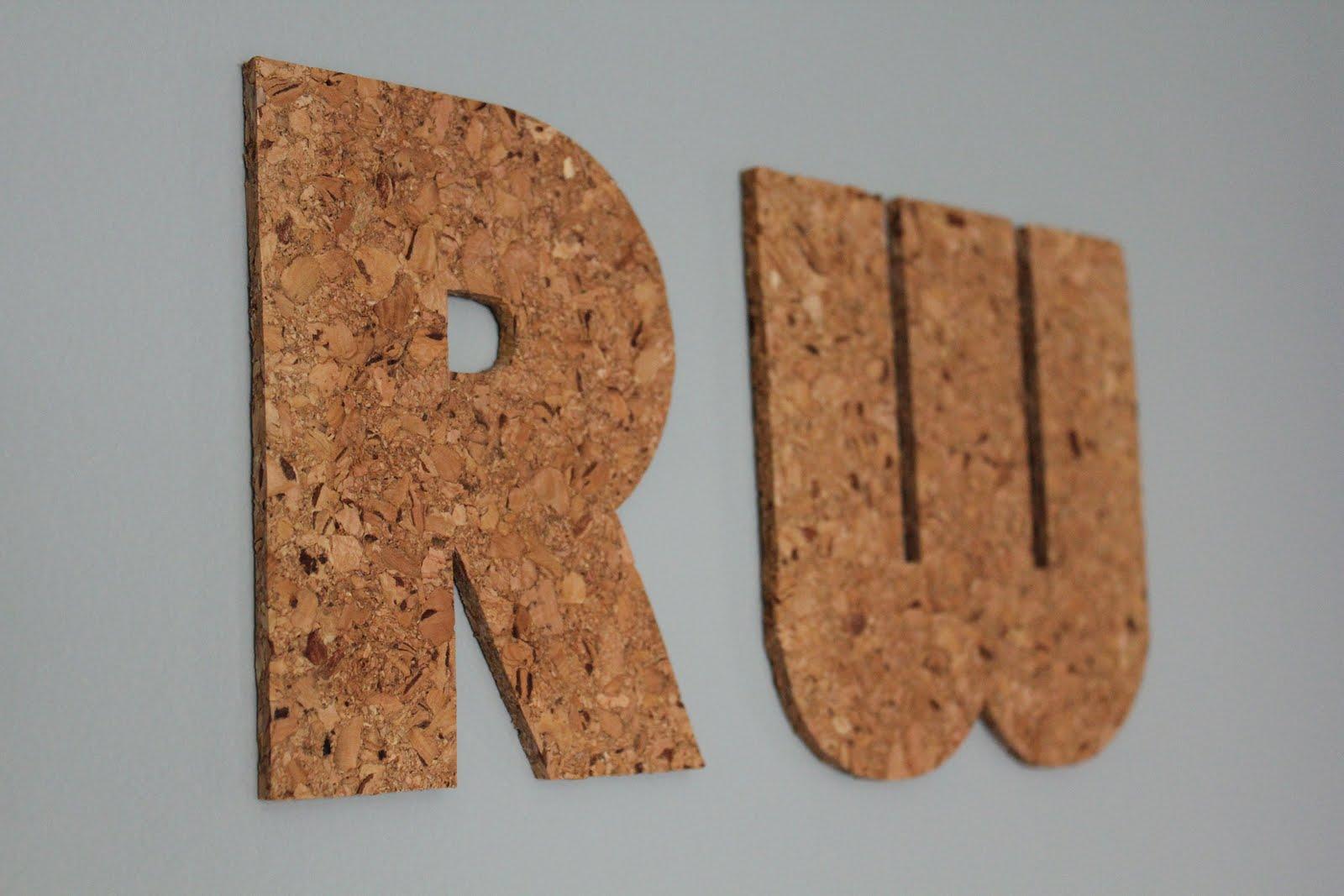 Modern mantle easy cork board initials for Modern cork board