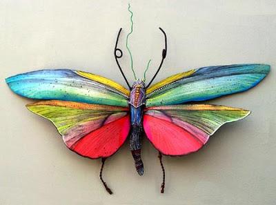 mariposa metal reciclado