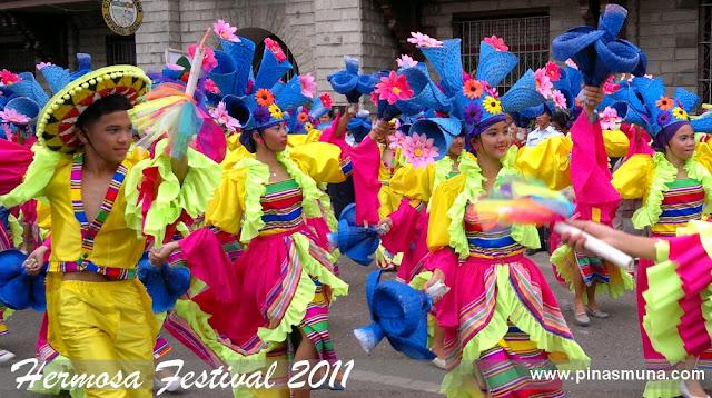 Zamboanga City's Hermosa Festival 2011 street dancers wearing latin inspired costumes