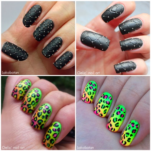 Gelic Nail Art Mani Swap With Lakobotan Neon Leo Nail Art And