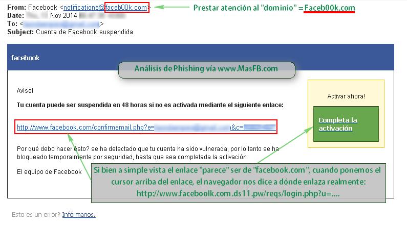 Email Phishing cuenta de Facebook - MasFB
