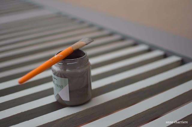 www.annecharriere.com, pintar contraventana, pintura de leche, homestead house milk paint, efecto chippy, madera, barniz,