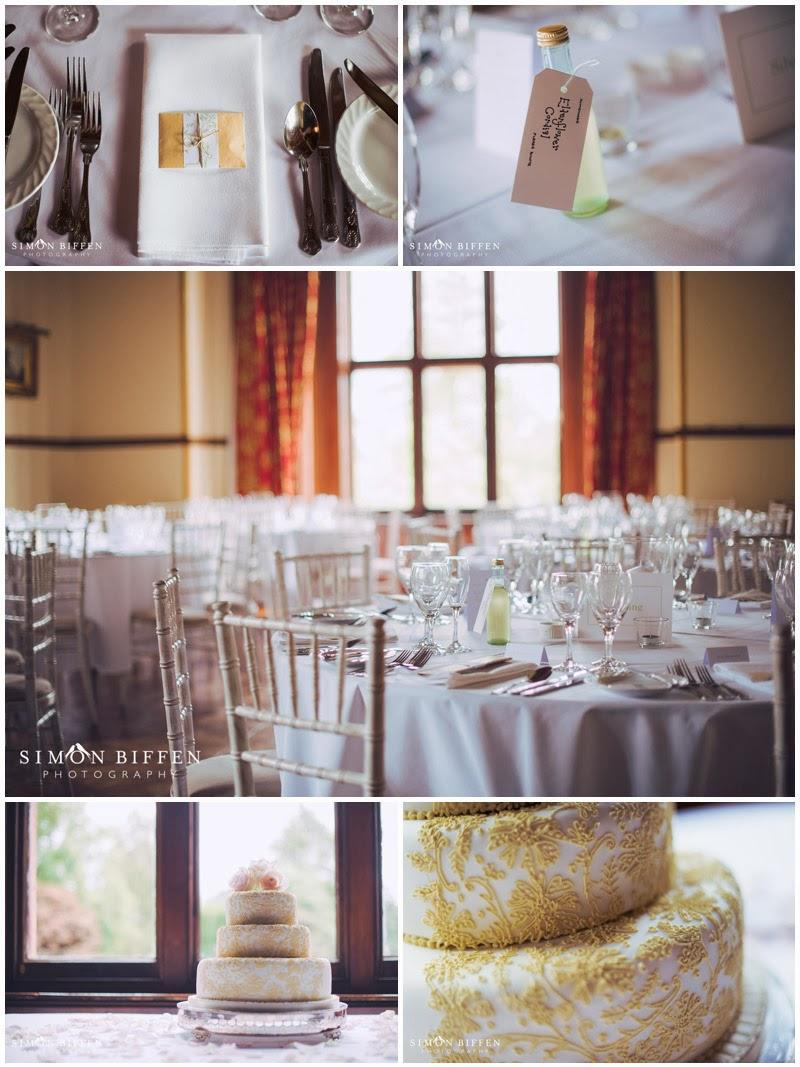 Table detail photographs at Huntsham Court wedding