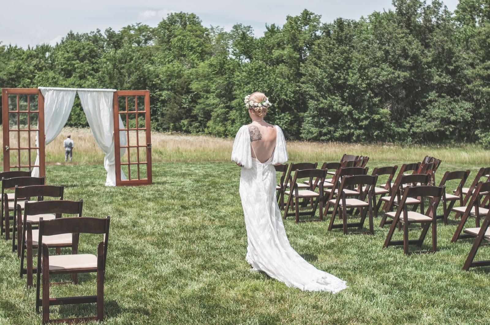 First look lace wedding dress