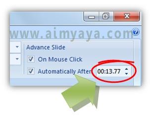 Gambar:  Pengaturan waktu tayang slide di microsoft powerpoint