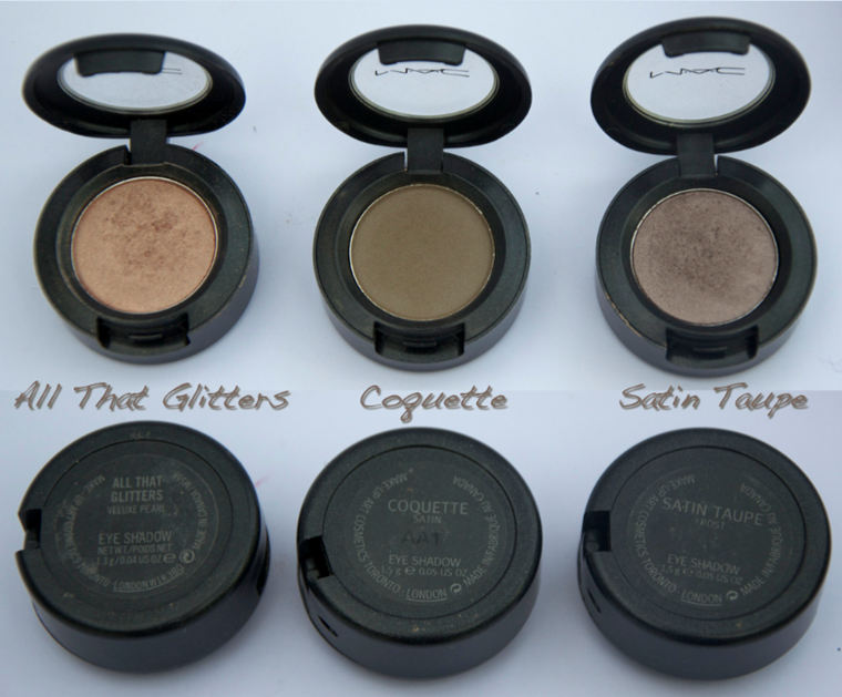 MAC EYESHADOWS ALL THAT GLITTERS COQUETTE SATIN TAUPE