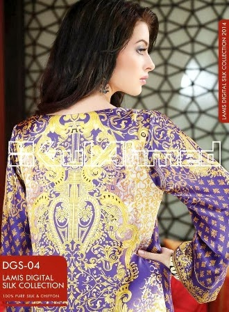 Purple Digital Printed Silk Dresses By Gul Ahmed