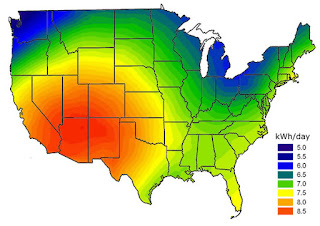 Solar Radiation Map - Sunniest Places in USA for Solar Farms