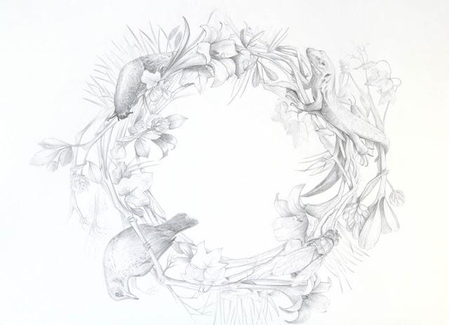 dessin au crayon papier léger animaux et couronne florale lucilie litorne limace lézard lys lierre