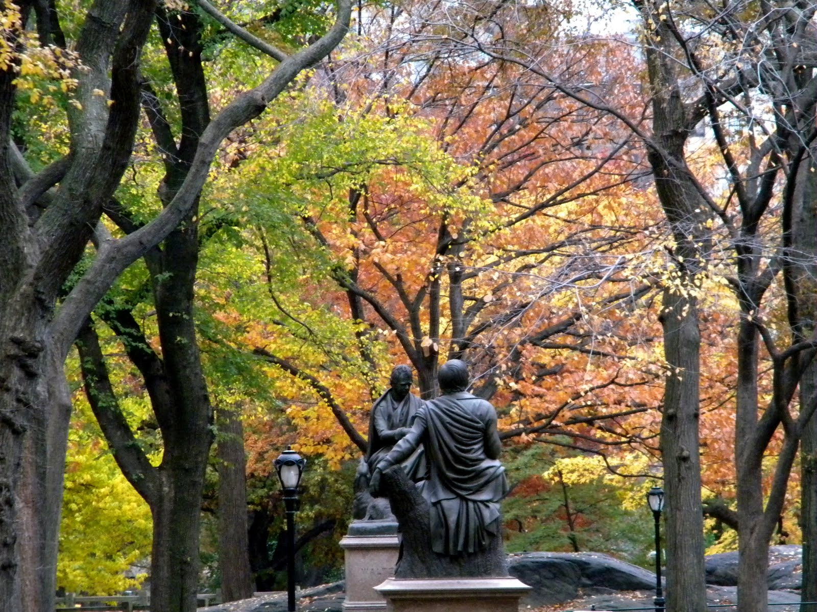 Literary Walk Fall Colors Central Park New York City