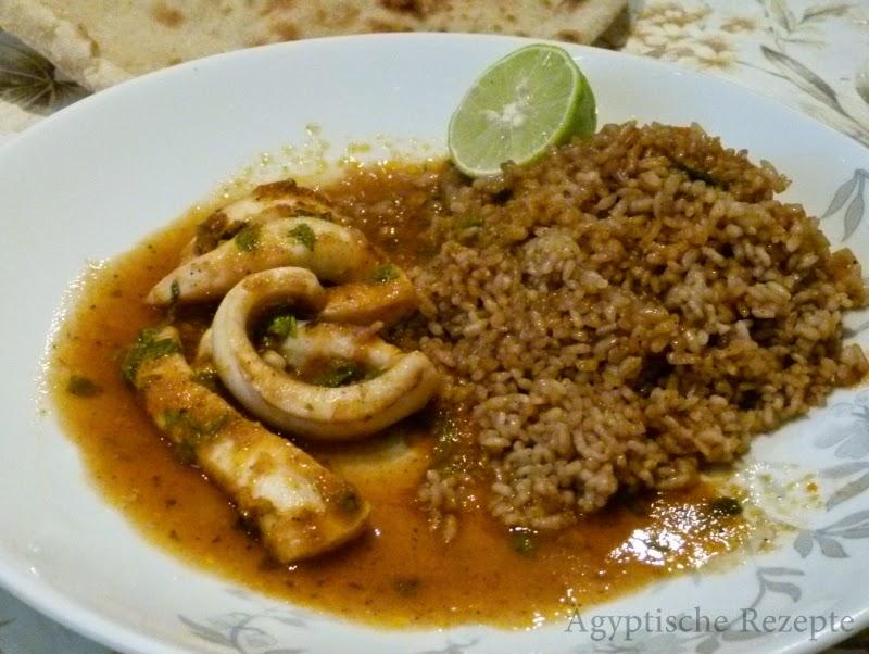Ägyptische Rezepte Calamari in Tomatensoße mit Reis