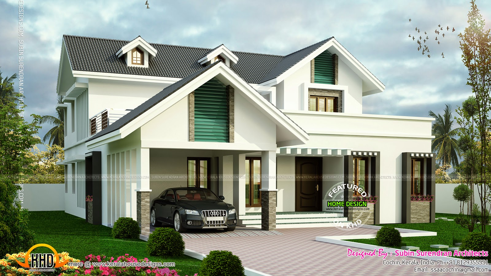 Modern sloping roof house with dormer windows kerala for Home to win designers