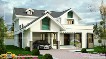 Modern Sloping Roof House With Dormer Windows - Kerala Home Design And Floor Plans
