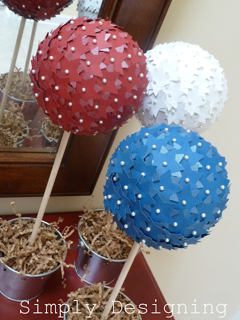 paper craft: star topiaries, 4th of july edition