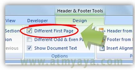Gambar: Cara membuat halaman pertama memiliki header/footer berbeda dengan halaman setelahnya di microsoft word