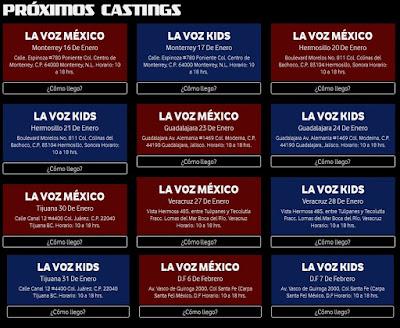 Fechas Casting La Voz México 2016