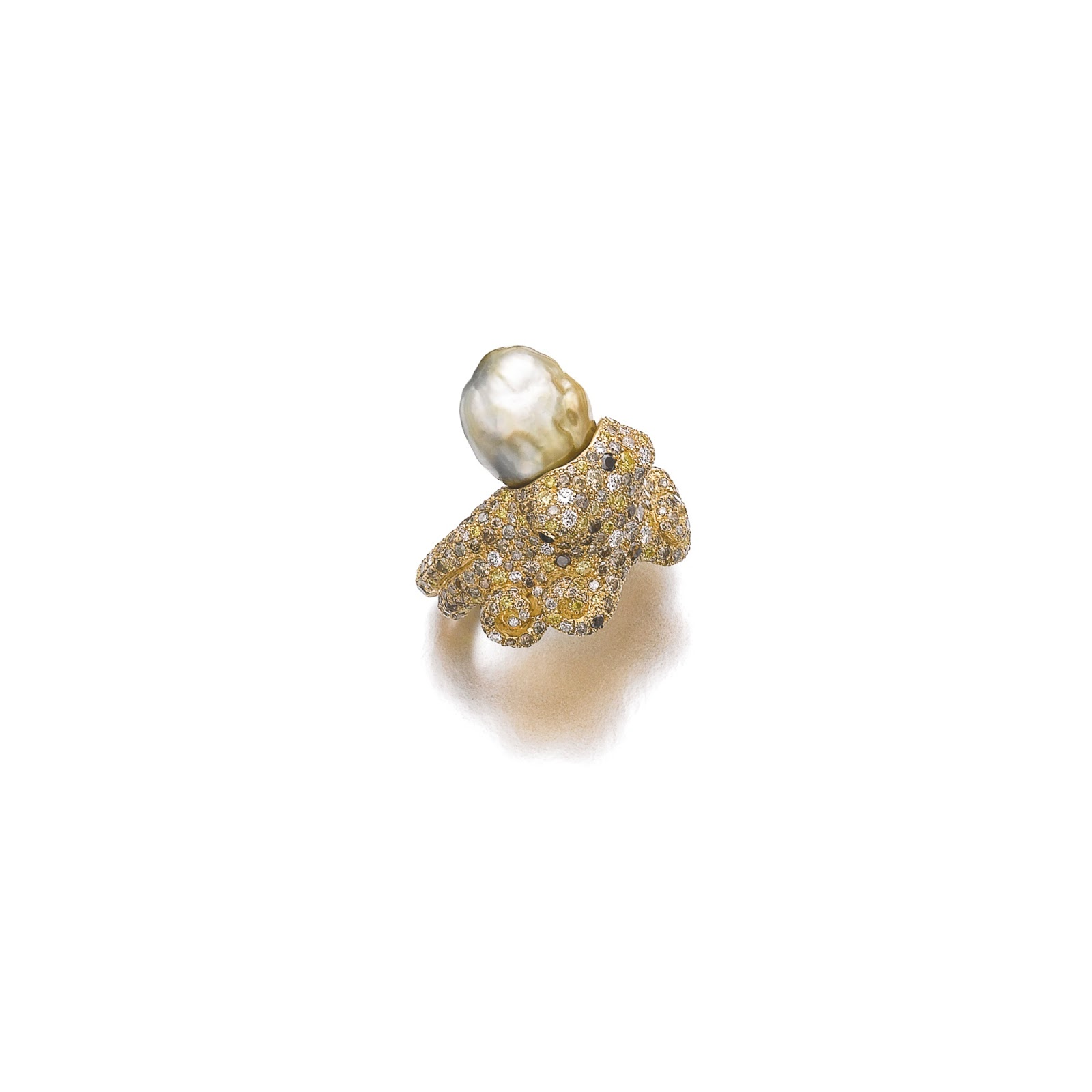 A Cultured Pearl, Onyx And Diamond Ring By Luciano Marotta Gigli