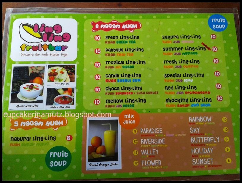 Kuliner jogja ling ling fruitbar rina chabbymutz for Z kitchen jogja menu