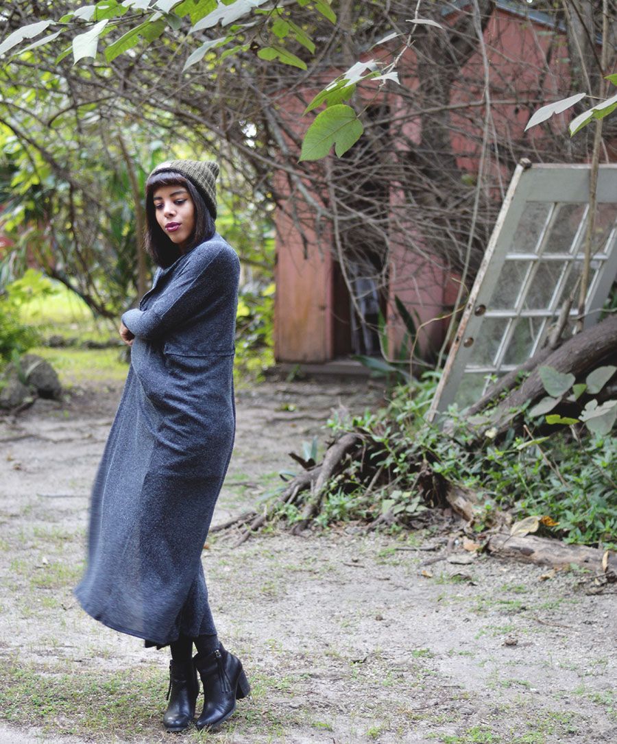 Minimalist Indie Fashion Blogger Anais Alexandre of Down to Stars in a forever 21 overall with urban outfitters sweeper cardigan and free people beanie at cauley square