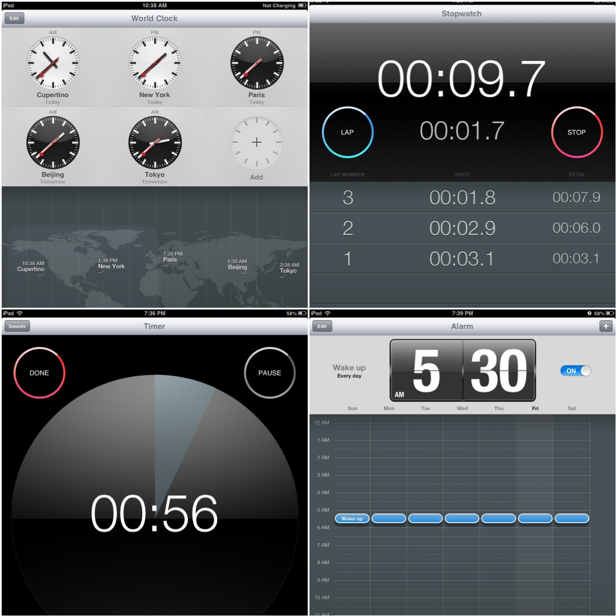 Hands on with iOS 6 Software Update on iPad 2 Clock App