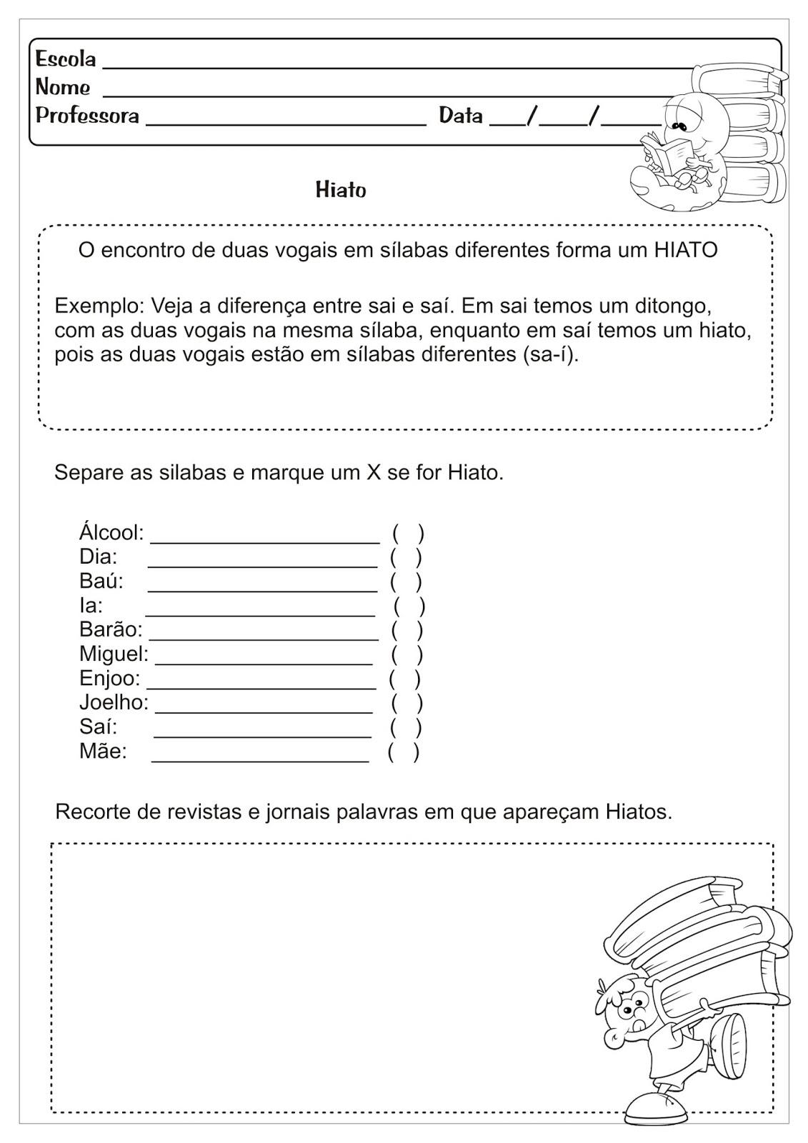 Atividades Educativas Ditongo Tritongo e Hiato Língua Portuguesa para Ensino Fundamental