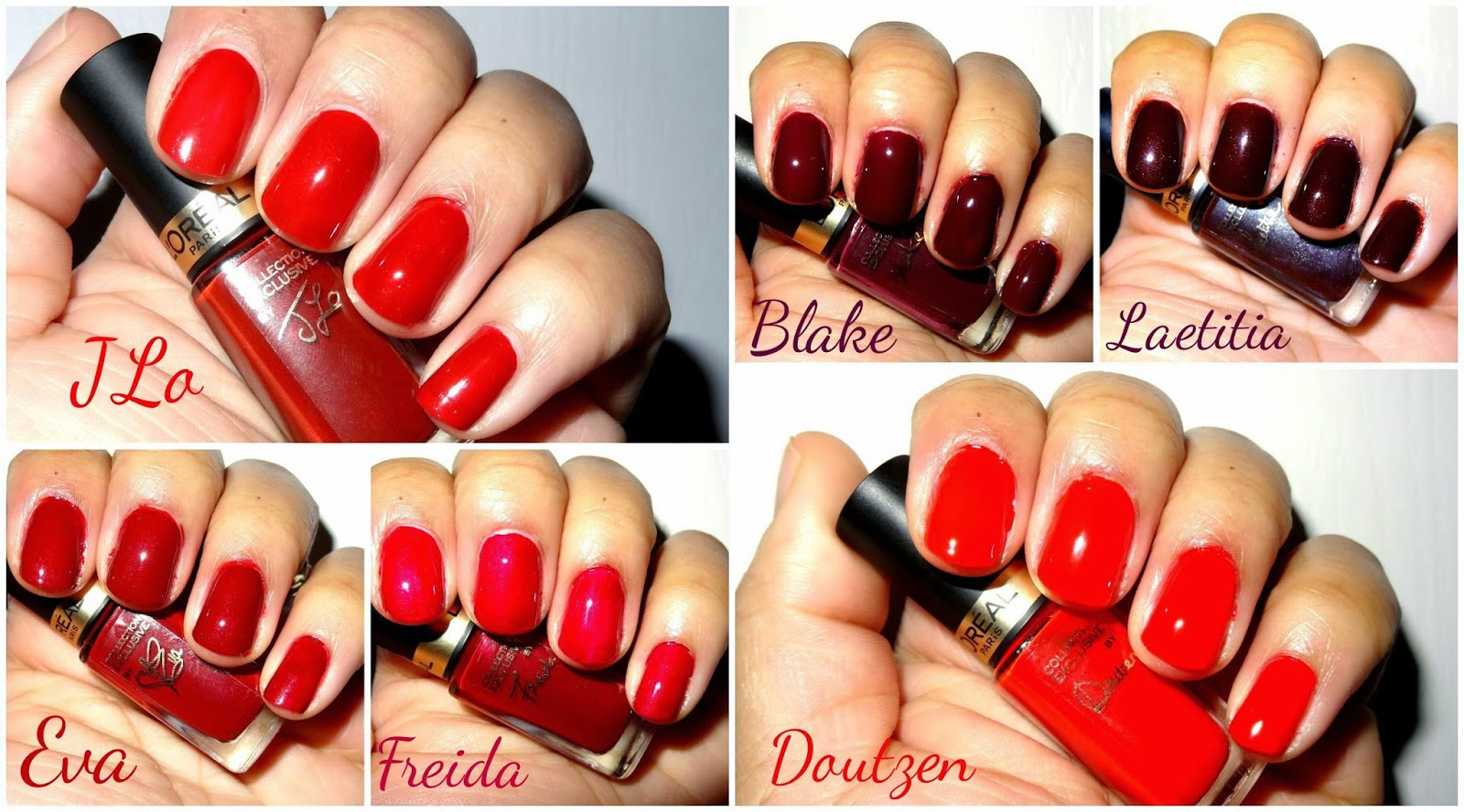 L'Oreal Pure Reds Exclusive Collection Nail Lacquers swatches