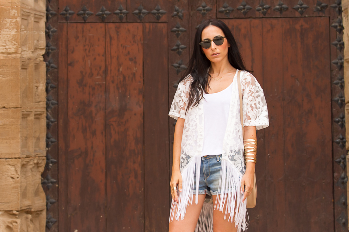 White tank top + lace kimono + Bottega Veneta 225S sunglasses