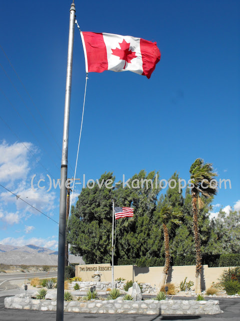 The Canadian flag welcomes Canadians to this park in the USA