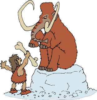 Prehistoric Man with Mammoth Clipart