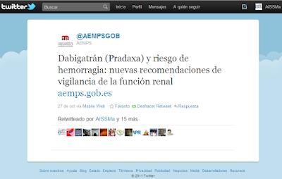 Tweet de la alerta de la AEMPS RT por AISSMa