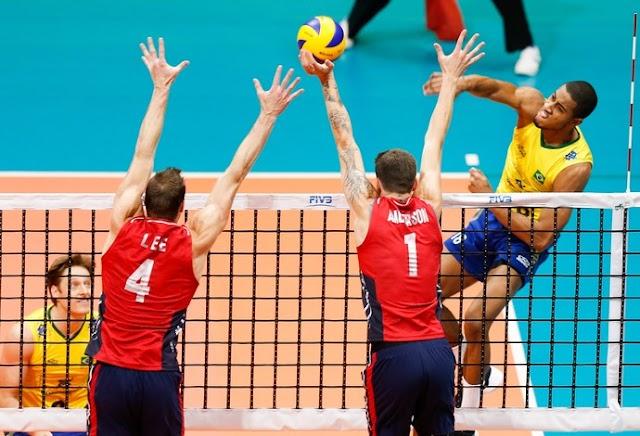 Em jogo de tirar os nervos, Brasil vence os Estados Unidos e segue vivo na Liga Mundial