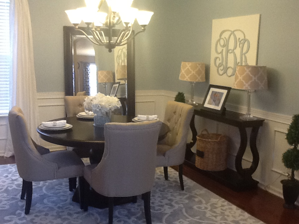 Home Tour Blue and Tan Dining RoomGotta Love a Little Bling  Home Tour Blue and Tan Dining Room. Blue Grey Dining Rooms. Home Design Ideas