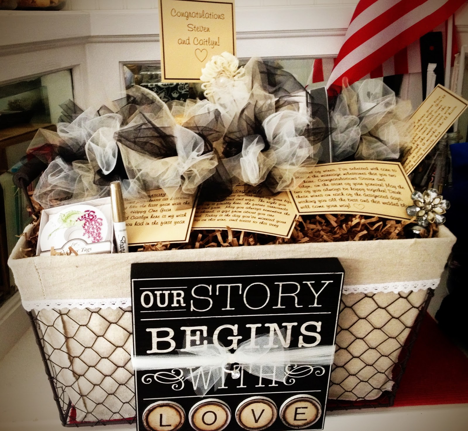 Wedding Gift Basket Wine : WBW Creative: A basket of wine for a year of firsts!