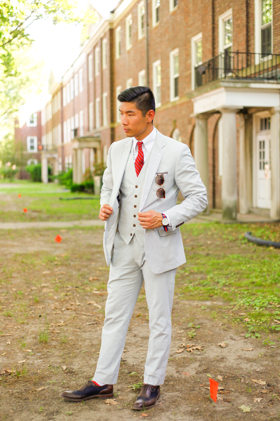 Jazz Age Lawn Party Levitate Style | 1920's Men's Fashion feat. J.Crew Factory Seersucker Suit and Striped Tie, Menswear, Rolls Royce, St Germain, Vintage