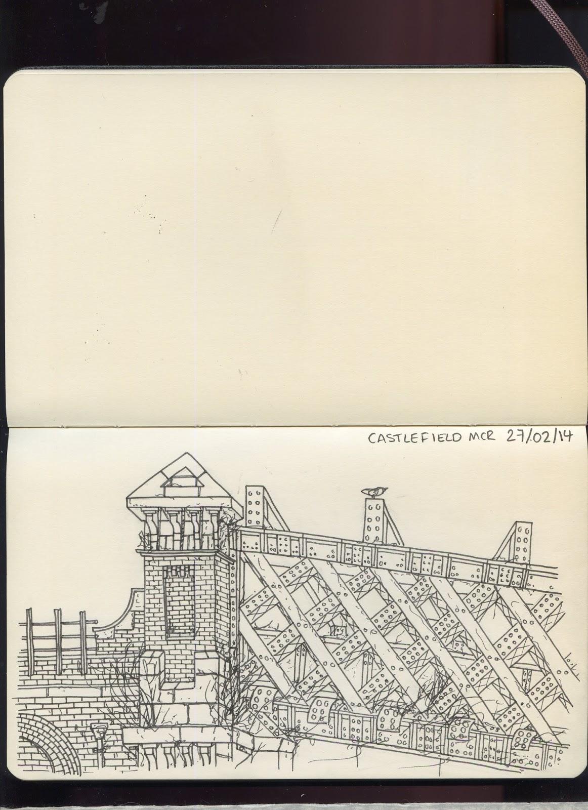 sketch, manchester, urbex, urban exploration, urban sketching, drawing, moleskine, castlefield, pen, ink, industrial, details, london road, bricks, walls, derelict,