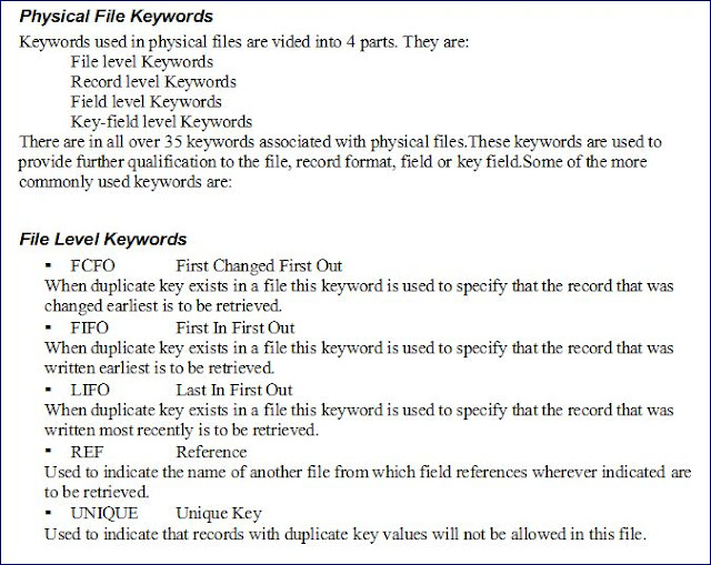 keyword levels in physical file