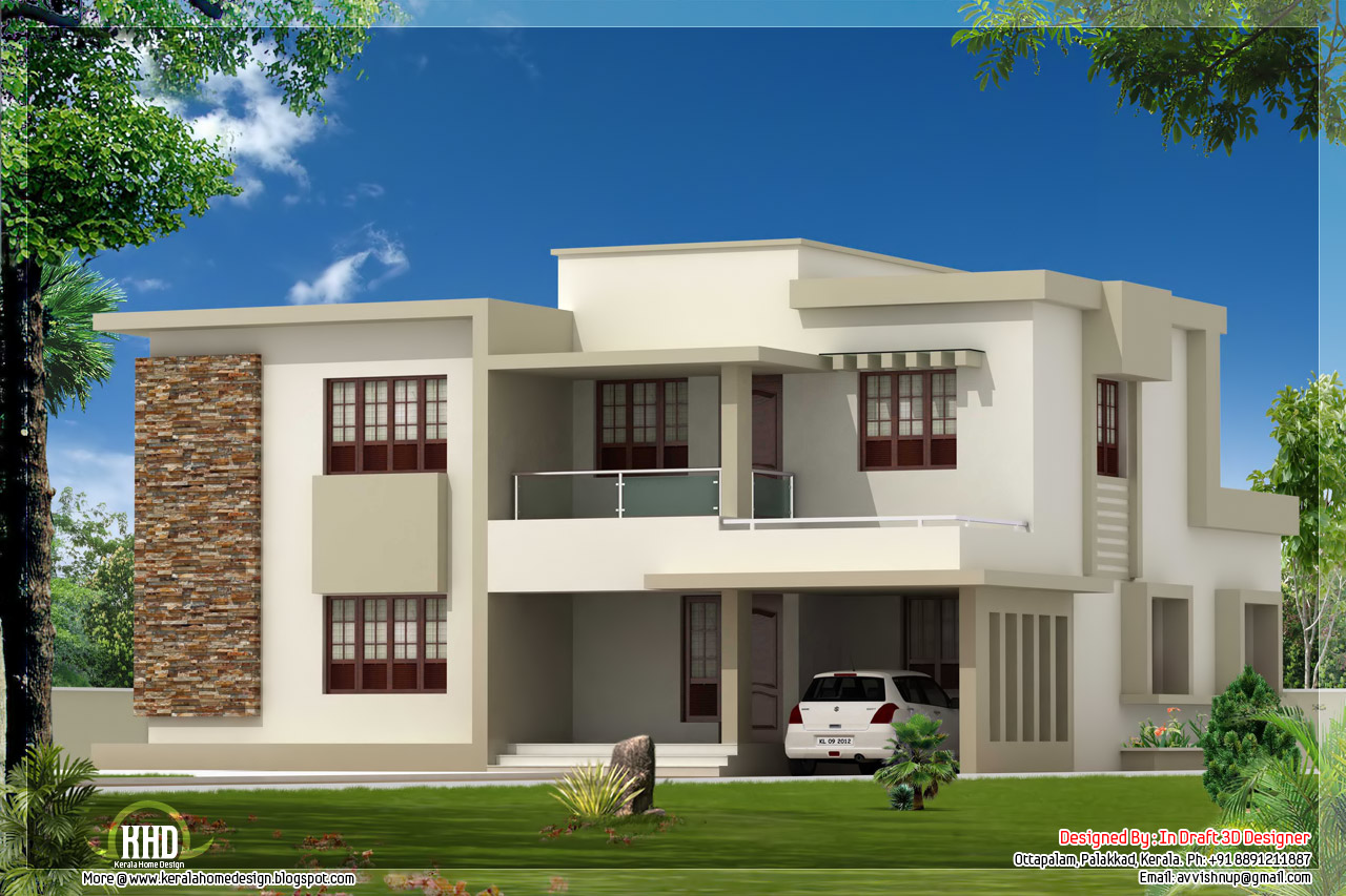 4 bedroom contemporary flat roof home design kerala home for Modern flat design