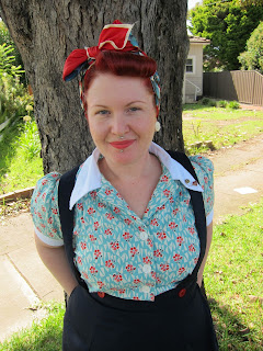 1940s scarf blouse suspender skirt