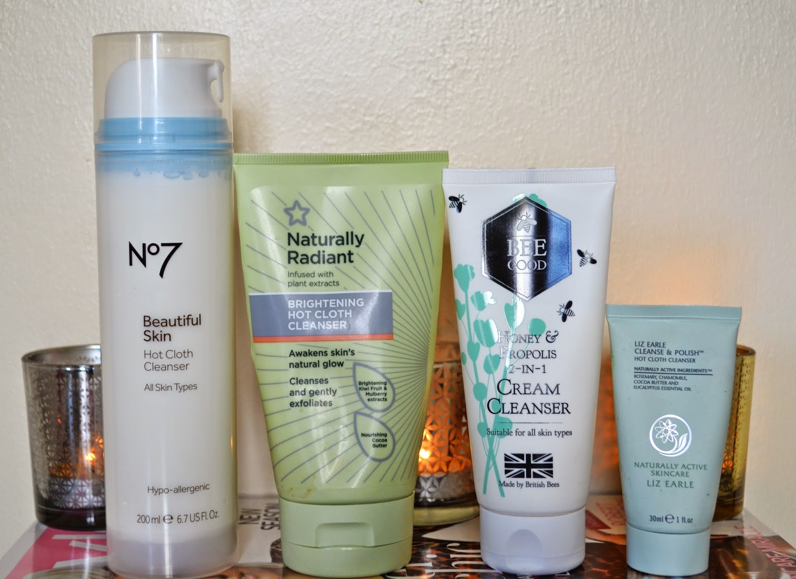 Hot Cloth Cleansers - Boots No7 Beautiful Skin, Superdrug Naturally Radiant, Bee Good Honey & Propolis 2in1, Liz Earle Cleanse & Polish