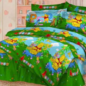 Bed Cover Sprei Motif Winnie the Pooh Warna Hijau | Syalom Store
