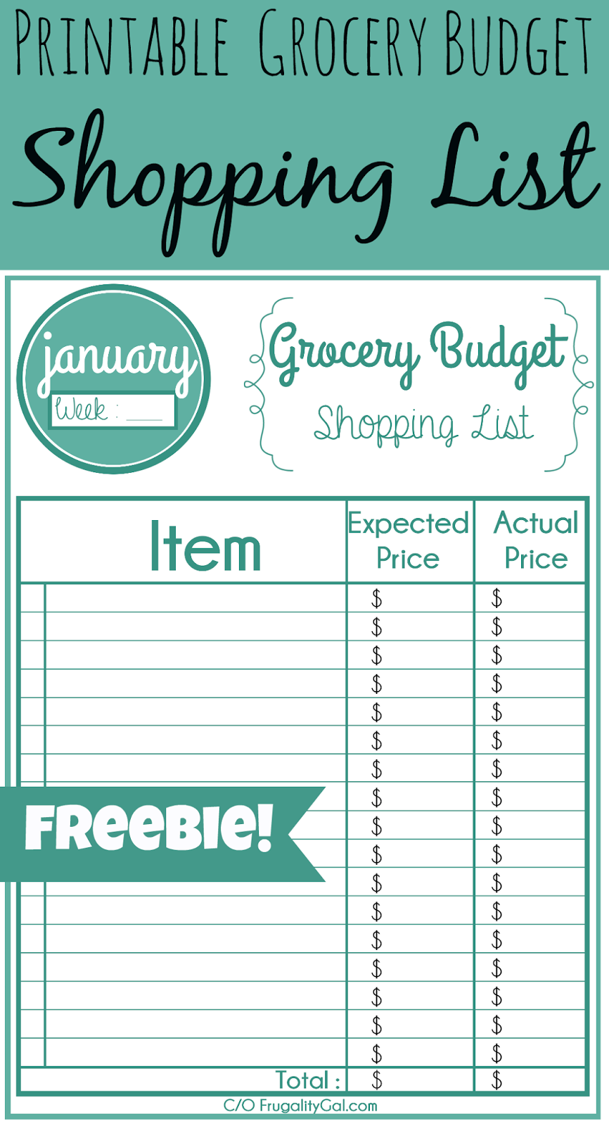 monthly grocery list template