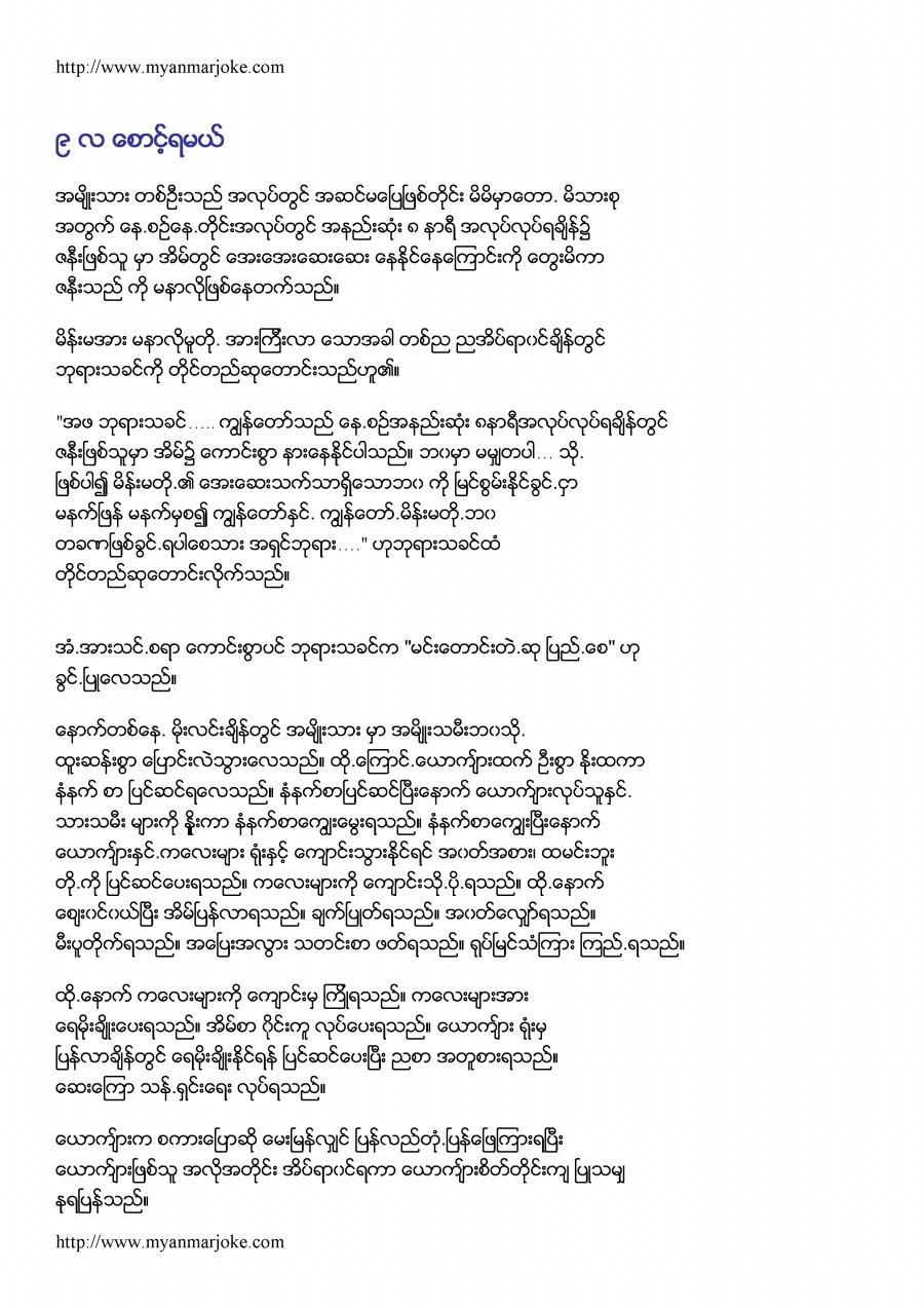 Please, Wait for 9 Months, myanmar joke