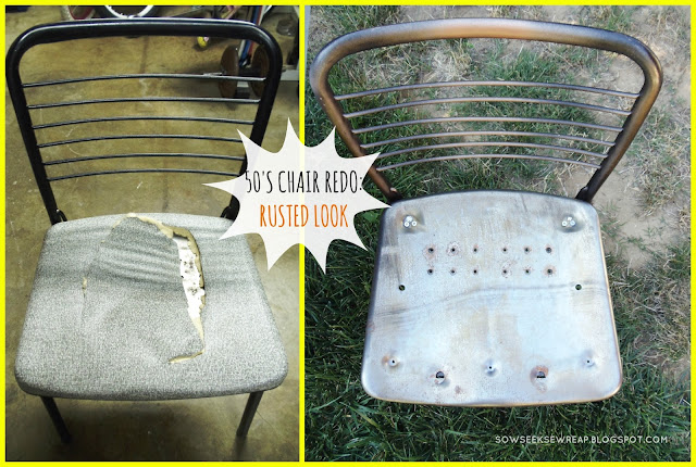 metal chair, chair redo, rusted chair