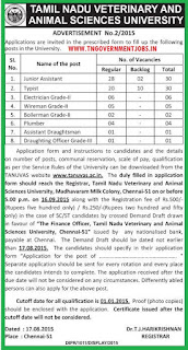 Applications are invited for Direct Recruitment of 79 Non Teaching vacancy posts in Tamil Nadu Veterinary and Animal Sciences University (TANUVAS)