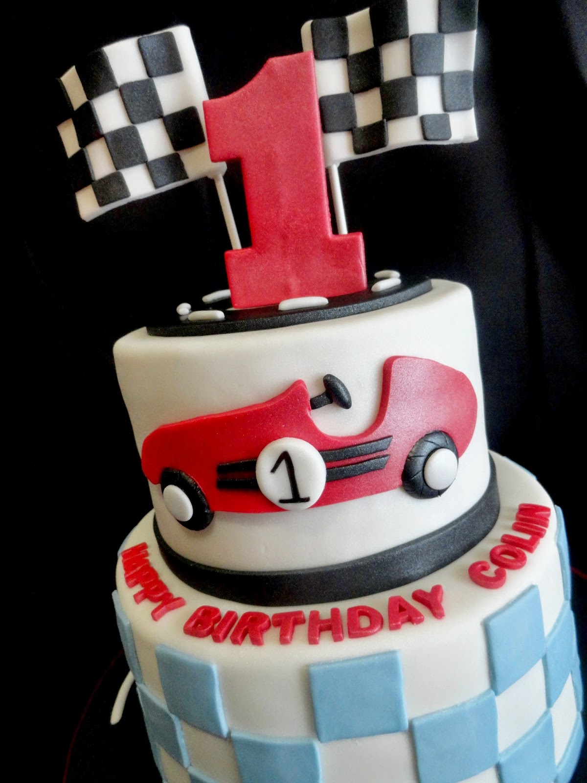 My Pink Little Cake: Race Car Theme 1st Birthday Cake