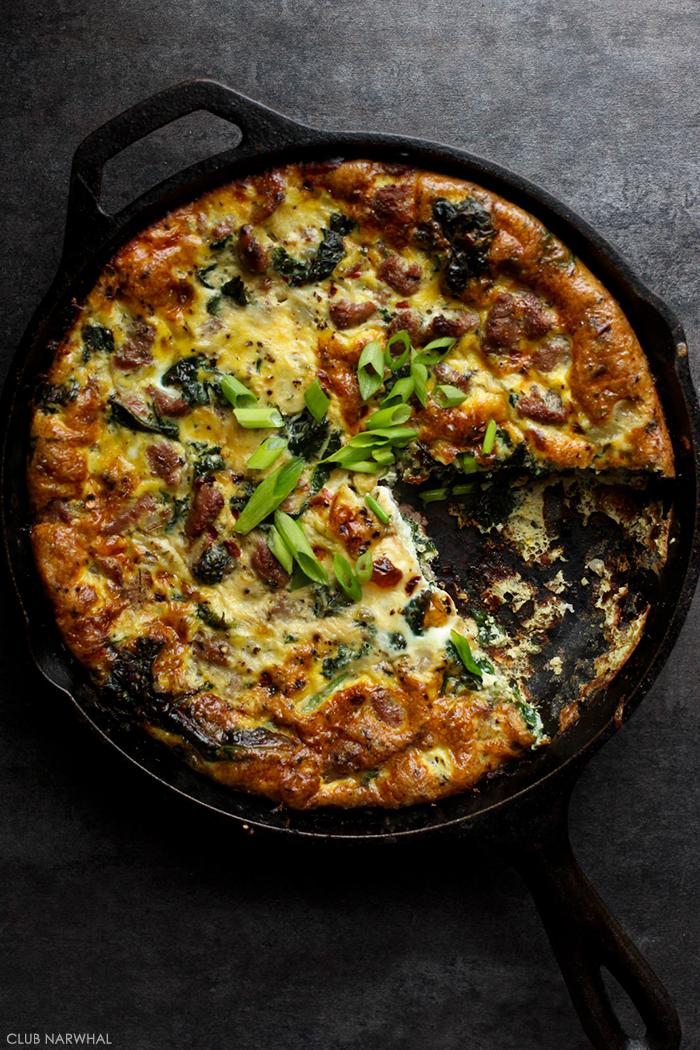 Paleo Frittata with Turkey Italian Sausage and Kale
