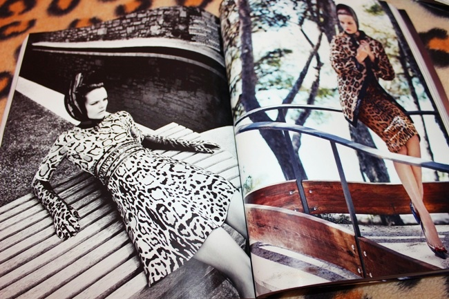 Marie Claire Italy Octobre 2014. Fashion and style, beauty. Double issue, special edition. Editorial with leopard prints.